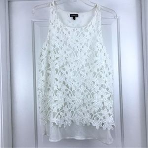 EXPRESS White Lace Tank Top Large